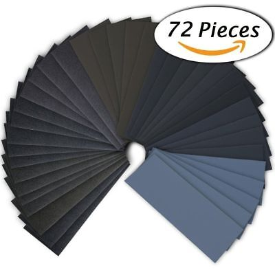 72 pcs wet dry sandpaper 400 to 3000 grit assortment 9 3.6 inches abrasive paper