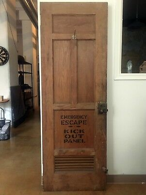 Rare antique wood captains ferry door with emergency escape panel