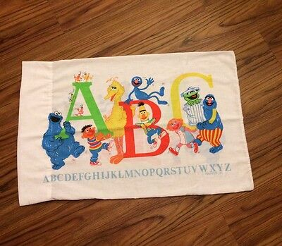 Vintage The Muppets ABC Pillow Case Cookie Minster Elmo Big Bird Cartoon