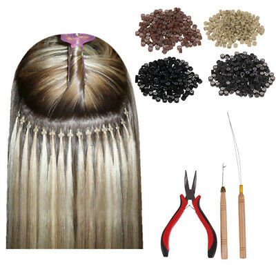 Feather Hair Extension Hook Pliers Tool KIT with 200 Micro Rings Silicone Beads
