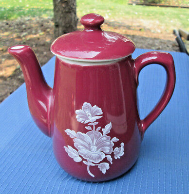 Hall China MAROON TEAPOT 2-CUP with WHITE FLORAL DESIGN, MINT!