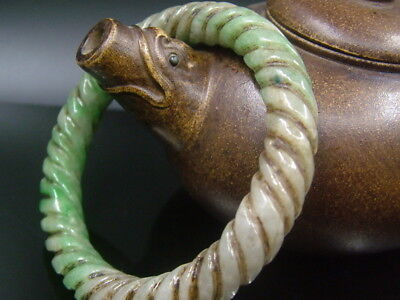 Antique Old Chinese Nephrite Celadon  GREEN A Jade Twisted silk  Bracelet