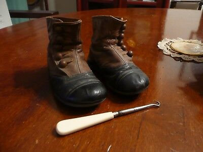 Genuine Victorian Child's Button Boots And Button Hook