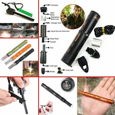 Survival Magnesium Flint Stone Fire Starter Lighter Emergency Camping Gear Kit