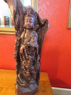 "Beautiful vintage hand carved Chinese wood statue Guanyin 26"" tall Kwan Yin"