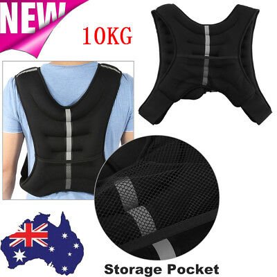 10KG Adjustable Weight Weighted Vest Crossfit Training MMA Gym Exercise Fitness