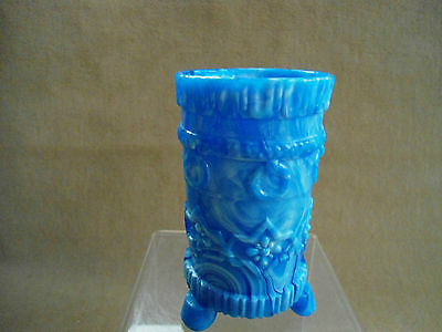 ANTIQUE ENGLISH DAVIDSON BLUE SLAG GLASS VASE TRI FOOTED c1895