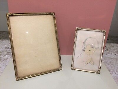 VINTAGE DANISH BRASS PHOTO PICTURE FRAMES with CONVEX GLASS x 2 - HOME DECOR