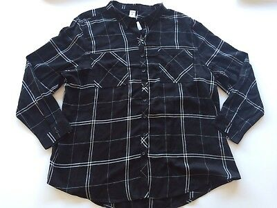 New Plus Size 26 Women's Check Checkers Pattern Long Sleeve Black White Shirt