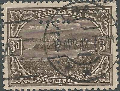 TASMANIA 1899-1912 Pictorial 3d Brown PERFIN with LARGE 'T' fine used