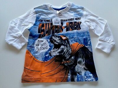 New With Tags Boys Size 2 Graphic Print Long Sleeve Dinosaur T-Rex T-shirt Top