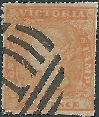 VICTORIA 1857-64 WOODBLOCK 6d Orange ROULETTED PERFS Attractive fine used RARE