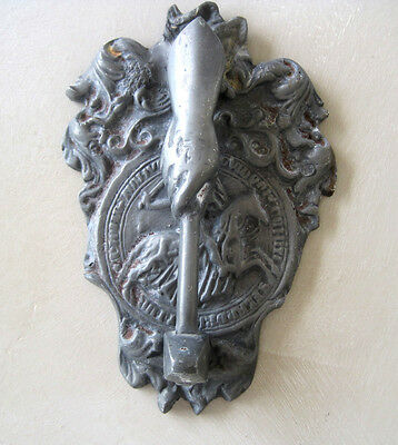 Antique French Door Knocker Shield Hand & Hammer