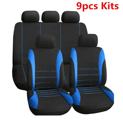 Black+Blue Car Seat Covers 9 Set Full Car Styling Seat Cover Kit For Sedans Auto