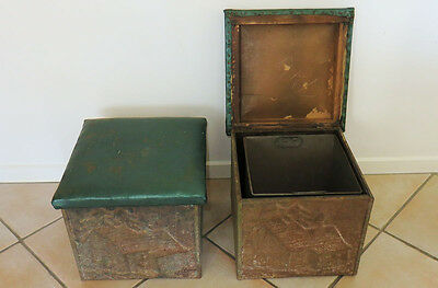 Antique Pair of Metal Coal Storage Boxes with Green Stools (Pick Up)