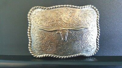 Vintage Silver Tone Western Style Belt Buckle With A STEER HEAD and Flowers