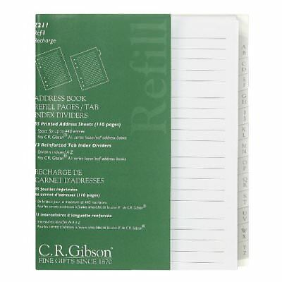 C.R. Gibson Address Book Refill Pages With Tab Index Dividers Z211