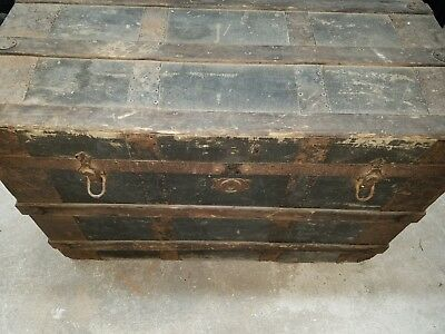 Antique,  Dome Top Tin / Wood Ornate Steamer Trunk   ( Late 1800,s - Victorian )