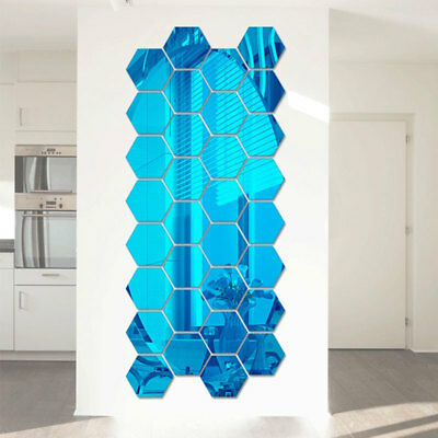 12Pcs 3D Hexagon Mirror Decal Acrylic Wall Stickers Home Mural Decoration
