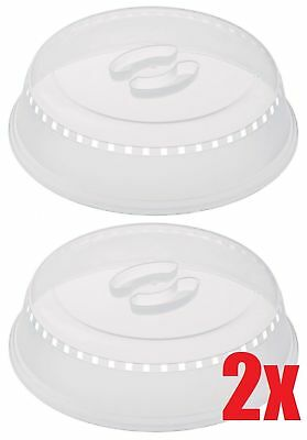 Set Of 2 Microwave Food Cover Ventilated Plate Dish Cooking Kitchen Reusable Lid