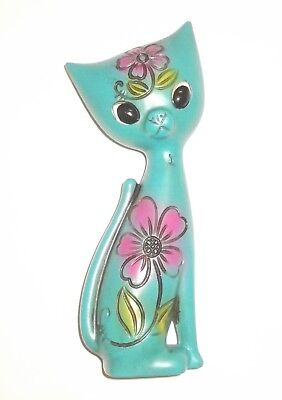 Vintage Cat Turquoise Figurine Collectable Retro Pottery Ceramic Kitty Cat 70's