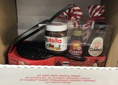 Nutella Waffle Making Press Set - Cast Iron Pan - Mix - Maker - Topping Box Gift