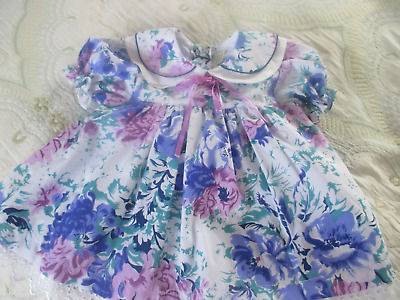 Vintage girls dress white floral cotton age 6-12 months by Peppermint