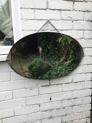Vintage Beveled Edge Frameless Oval Mirror Lovely Mirror Art Deco