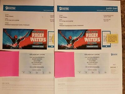 2 Roger Waters Adelaide Us + Them 16 Feb 2018 2 Concert Tickets