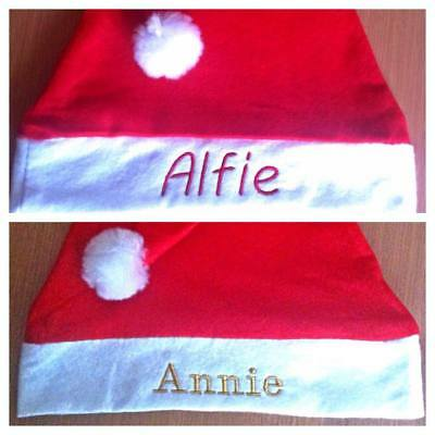 Personalised Santa Hats - Embroidered Name - Christmas Adults  Teens Kids - Xmas