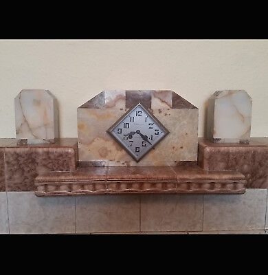 French Deco Marble Mantle Clock with garnitures (G. Lecland, Auxerre)