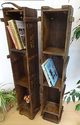 Lovely Pair Of Wood Wooden Military Ammo Box Bookcases