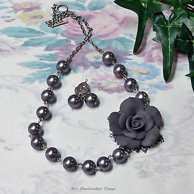 Silver Grey rose and pearl necklace and earrings set, asymmetrical