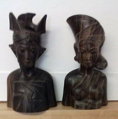 Pair of Indonesian hand carved figures