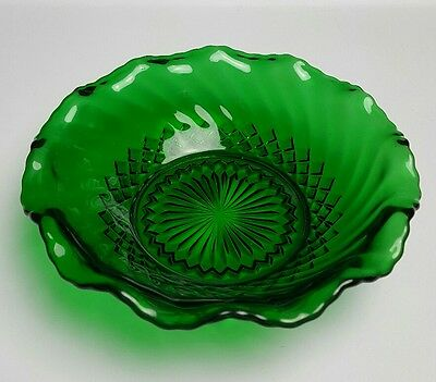 Anchor Hocking Forest Green Swirl Ruffle Bonbon Dish Diamond Bottom Vintage Bowl