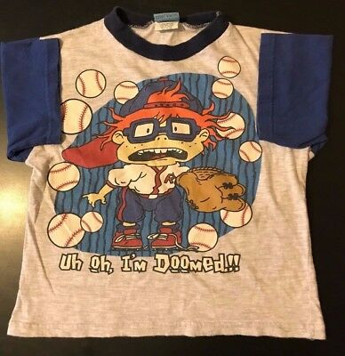 Vintage 90s 1997 Youth Kids Rugrats Baseball Size 7 T-Shirt Cartoon Nickelodeon