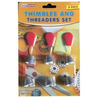 Thimbles & Threaders Set Grip Finger Protector For Pins & Needles Tailor Sewing