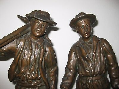 Vintage Spelter Figures On Wooden Plinths French Signed Rucho 15Ins Miners?