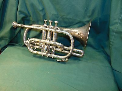 Vintage Decorated & Silver Cornet by J.W. PEPPERS & SON PHILADELPHIA Antique