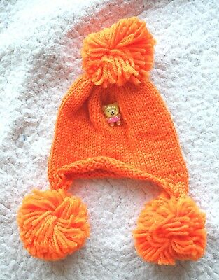 NEO BLYTHE Orange BEANIE with cute Bear (HAT CAP GORRO). BRAND NEW.