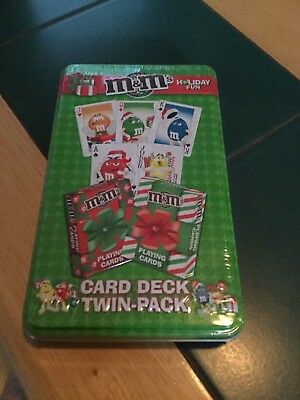 M&M card deck twin pack holiday fun in tin box sealed