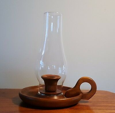 Vintage Hurricane Glass Shade & Wood Taper Candle Holder with handle