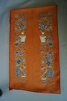 Antique Chinese Embroidery Forbidden Stitch Silk Robe Sleeve Panel Vases 19th C