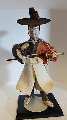 "Unusual Antique/Vintage Japanese 6"" Doll:  Courtier/Nobleman"