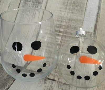 Snowman Faces for baubles wine glasses glass mug vinyl sticker decal 2, 10 or 20