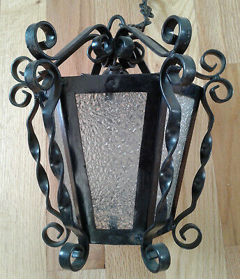 Vintage Spanish Gothic Black Wrought Iron Hanging Swag Ceiling Light Lamp (C)