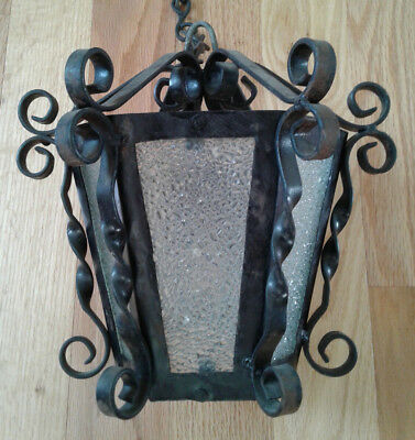 Vintage Spanish Gothic Black Wrought Iron Hanging Swag Ceiling Light Lamp (D)