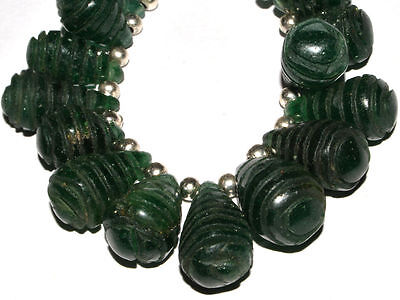 "(H7727) Natural Gemstone Aventurine Hand Carved Beads  6"" Strand. Old Stoc"