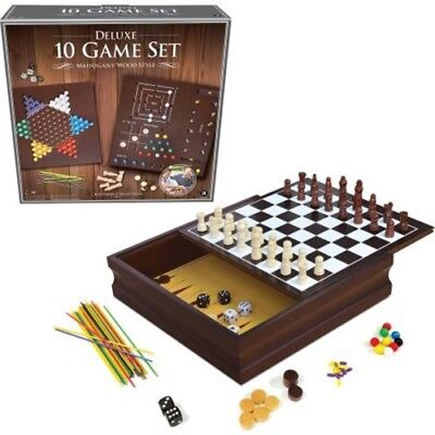 Deluxe 10-in-1 Chess, Checkers, Tic Tac Toe, Etc.. Wooden Cabinet Game Set