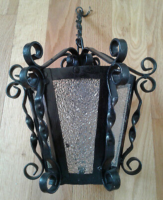Vintage Spanish Gothic Black Wrought Iron Hanging Swag Ceiling Light Lamp (E)